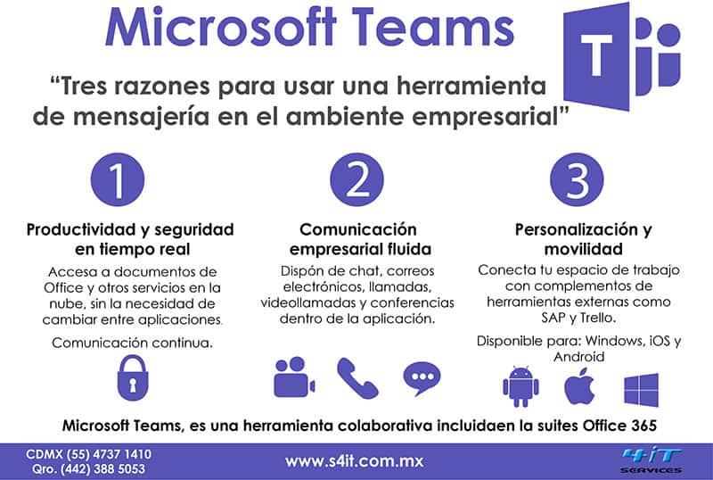 Infografía: tres razones para usar Microsoft Teams